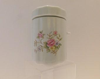 SUGAR CANISTER: Canister by F.T.D.A., Vintage Kitchen, Lovely Vintage Sugar Canister, Porcelain Sugar, Floral Ceramic Sugar Holder