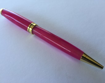 European Style Ballpoint Pen - Pink / Pearl Flake Acrylic with Gold Accents