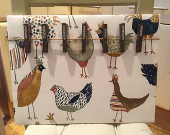 Days of the Week Pegs Memo Board, Noticeboard, days, pegs, gifts under 20, hens, birds