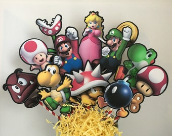 Mario Brothers Set of 12 Centerpiece Picks (DOUBLE-SIDED)