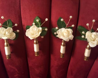 Custom Made to Order Rifle Bullet Boutonnieres - Wedding Boutonnieres - Rustic Boutonnieres - Any Color - Rifle Shell Boutonnieres