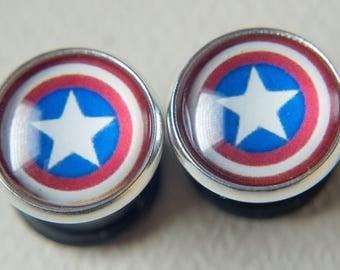 Captain America ear gauges, captain america ear plugs, Multiple Sizes