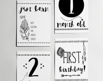 Set of 10 'Firsts' Milestone Cards // Foil // Baby // Gold // Real // Handmade // Kids // Months // Newborn