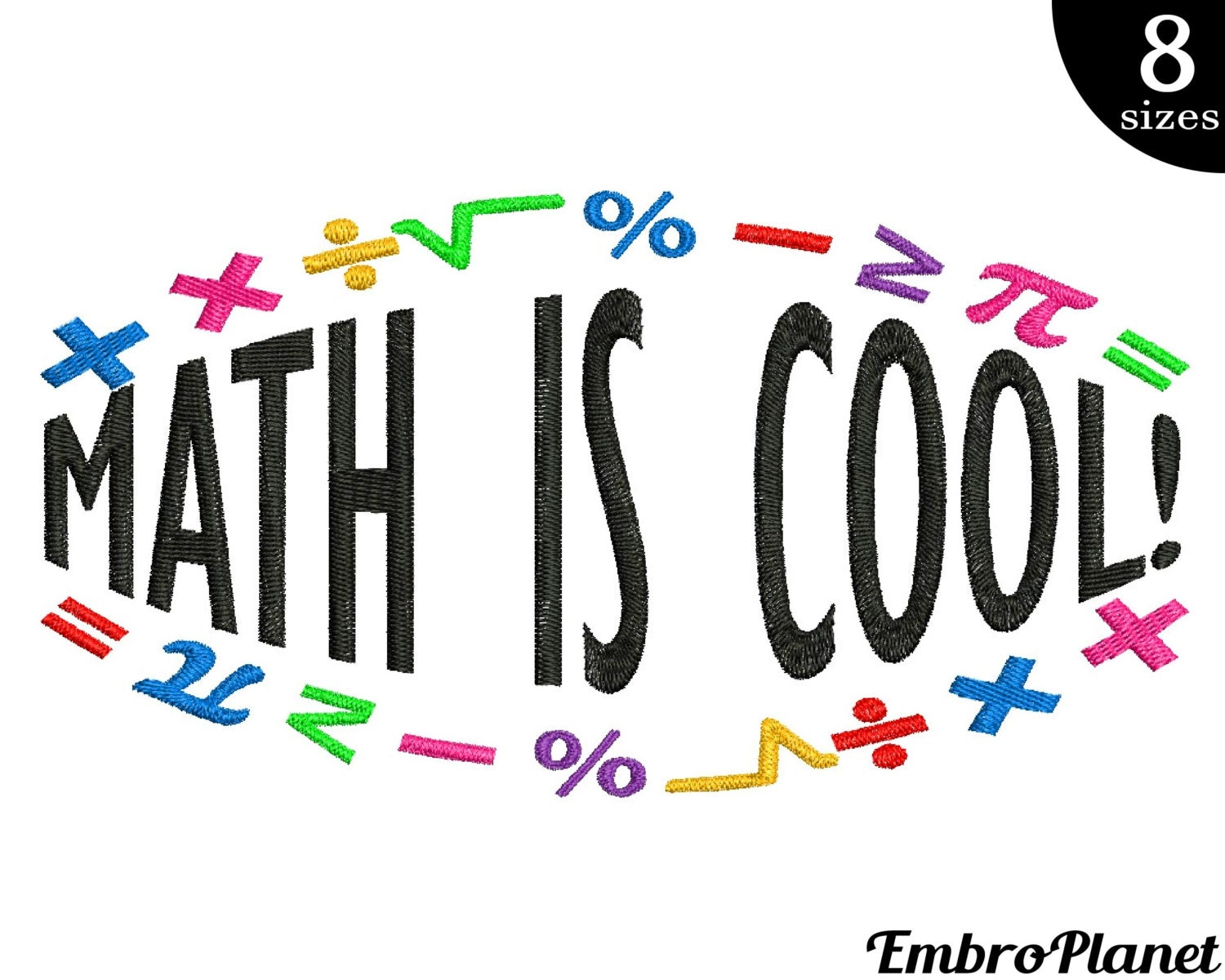 math is cool design for embroidery machine instant download
