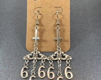 Gothic 666 chandelier earrings with inverted cross.