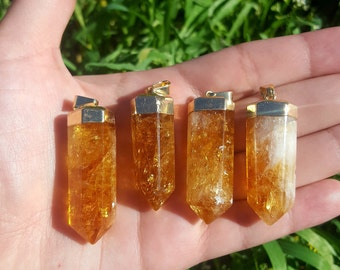 On sale!! 24k gold plate and bail Citrine Pendants