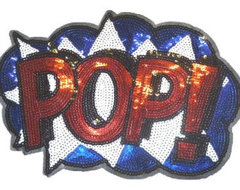Large Red White and Blue POP! Sequinned Iron on Patch - H424
