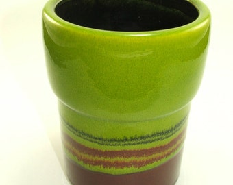 Hutschenreuther Renee Neue 70s POP ART green brown ceramic vase Germany
