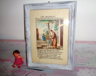 Shabby Chic picture frame pharmacy Merck image rare old German font