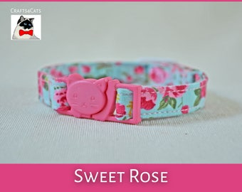 'Sweet Rose' fancy floral cotton collar for cats & kittens with your choice of bells colour and type buckles e.g. non breakaway