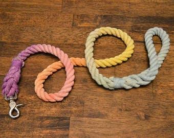 Unicorn Rope Dog Leash: All natural cotton rope dog leash Colorful, Rainbow, Pastel