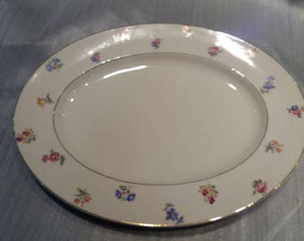 Elegant serving plate..Delicate flowers on a white background with gilt edging