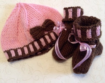 Chocolate and Bubblegum Handknitted Fair Isle Baby Shower Gift Knitted Hat and Booties