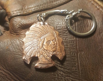 Indian Arrowhead from 1oz Pure Copper Coin. Patina Finish. Made into keychain.