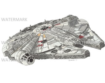 Millennium falcon. Print of my A4 sketch of the Millennium Falcon