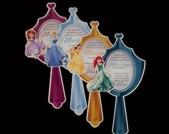 10 mirror invitations with ribbon bow