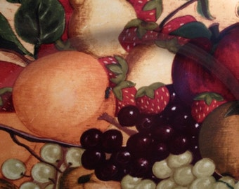 Vintage Colorful Decoupage Plate Basket of Fruit
