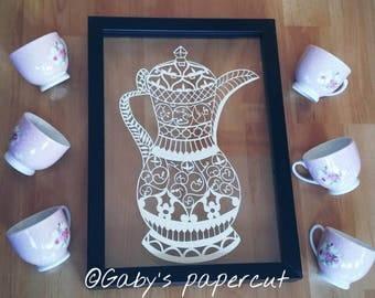 Arabic coffee pot -paper cut -hand drawn and hand cut - A4