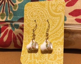 Vintage inspired coffee cup earrings