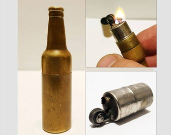 1950s KEM Brass Bottle Pocket Lighter, Working