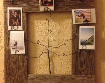 picket fence frame with wire family tree photo holders