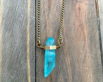 Brass-Framed Blue Quartz Necklace