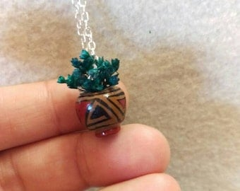 Tiny handcrafted Mexican artisan vase necklace