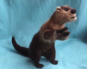 Posable Needle-Felted River Otter
