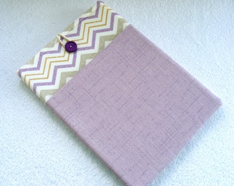 """IPad Pro 12.9 Case,  Kindle DX Case, Kindle DX White Cover Sleeve, Padded Cover Sleeve, Lilac Chevron Print Tablet Cover,  13""""x 8 3/4"""""""