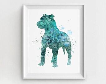 Pitbull Art Print, Pitbull Painting, Watercolor Pitbull, Large Wall Art, Pitbull Art Printable, Printable Pitbull, Digital Pitbull Art, Gift