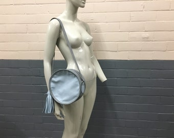 SALE Recycled Leather Circle Shoulder Bag | Pale Blue/Pebble Grey Genuine Leather with Tassel
