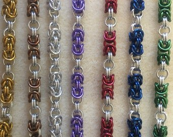 Byzantine chainmaille bracelets in a range of colours