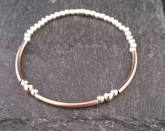 Genuine 925 Sterling Silver 14k Rose Gold Filled Stackable Beaded Elastic Stretch Tube Bead Charm Bracelet Gift Idea