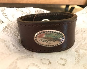 Upcycled Distressed Brown Leather Shark Cuff Bracelet