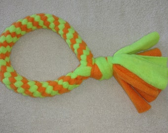 Fleece dog toy-dog tug toy-in neon green and orange fabric