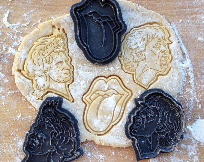 Rolling Stones cookie cutters set. Mick Jagger face cookie cutter. Keith Richards face cookie stamp. Tongue cookie cutter