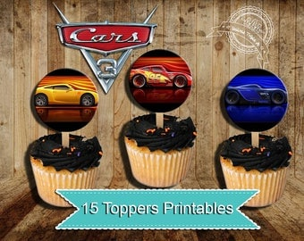 Cars 3, toppers Cars 3, Party Cars 3, Birthday Cars 3, Party Cars, Cupcake toppers cars 3, Cars, Disney cars Birthday