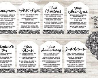 Set of 8 Wine Basket Tags Wedding Shower Gift Black Art Deco Design - 8 Original Poems for FIRST TIMES Gift Tags for Bottles - PDF Download