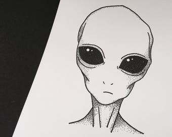 We out there - Alien print A4