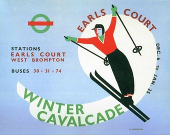 1930's Earls Court Ski Show Promotional Poster  A3/A2/A1 Print