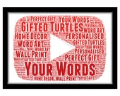 PERSONALISED YouTube Play Button Word Art Wall Print Gift Idea Decor Birthday You Tube Youtuber Subscribers Vlogger Vlog Kid Dream Job Utube