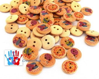 Buttons wood ground insects spring multicolor vintage leisure creative 2 hole 15mm-49 - per batch of 10, 20, 30, 50 units