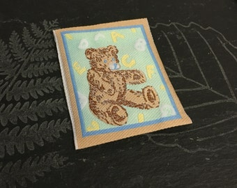 2 woven teddy patches, teddy appliques, abc appliques, sew on appliques, craft supplies, cardmaking supplies, sewing appliques