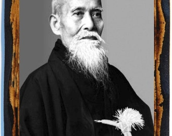 Morihei Ueshiba 植芝 盛平 Ueshiba Morihei  martial artist and founder of the Japanese martial art of Aikido Icon on wood plaque