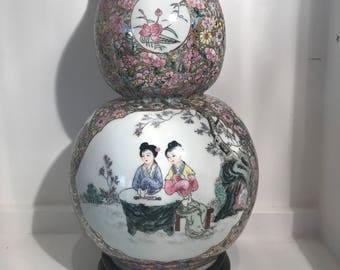 Exquisite Antique Oriental Double Gourd Shape Vase