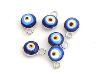 6 mm Double Size Evil Eye Charm Silver Plated 12 pcs/set