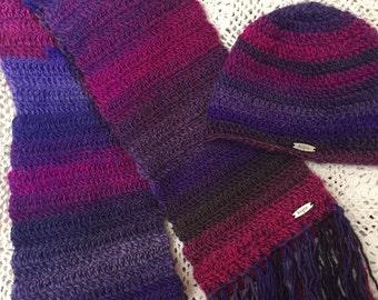 Women's Hand crochet scarf & beanie set pinks, purples, OSFA, boho, vintage, hippie, trendy