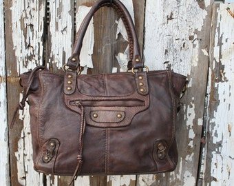 "Rich Dark Brown Italian Leather Handbag ""Limited Edition"""