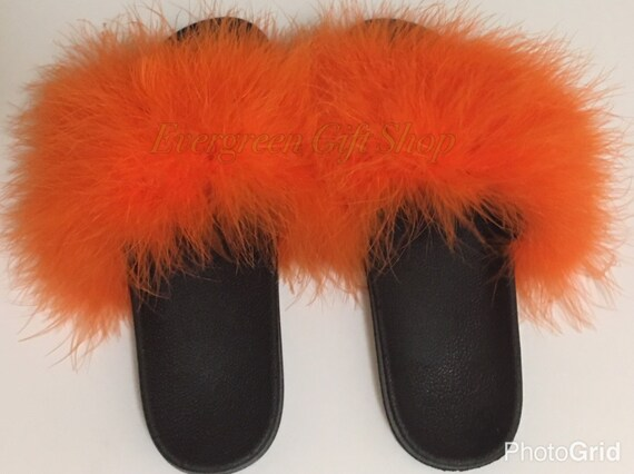 6464ddb55ea0c4 high-quality Nike Fur Slides ORANGE Custom Nike Flip Flops by  EvergreenGiftShop