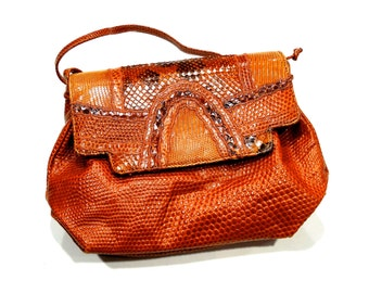 VINTAGE: Carlos FALCHI Leather Reptile Bag Purse - Designer Purse - Shoulder Bag - SKU Tub-605-00007374